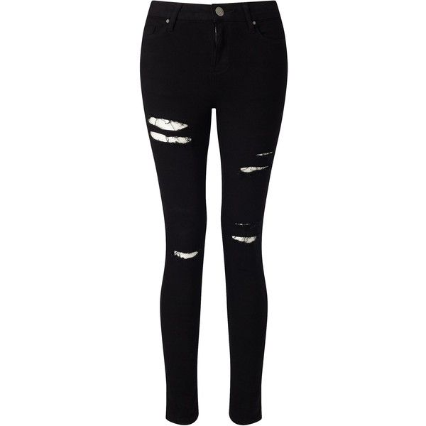 Miss Selfridge Lizzie Black Distressed Jean (£40) ❤ liked on Polyvore featuring jeans, pants, bottoms, black jeans, calças, black, women, super skinny jeans, destruction jeans and miss selfridge