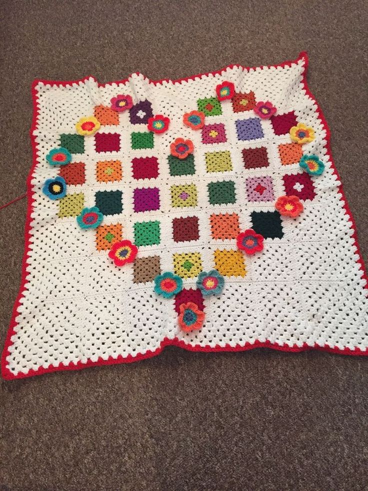 crochet granny squares heart  blanket in rainbow and cream, with flowers  | eBay