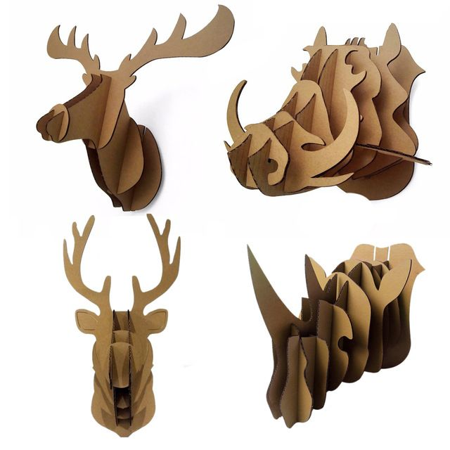 Decorative 3d Puzzle Cardboard Animal Head Wall Decoration Deer / Wild Hogs  / Rhinoceros Head Wall