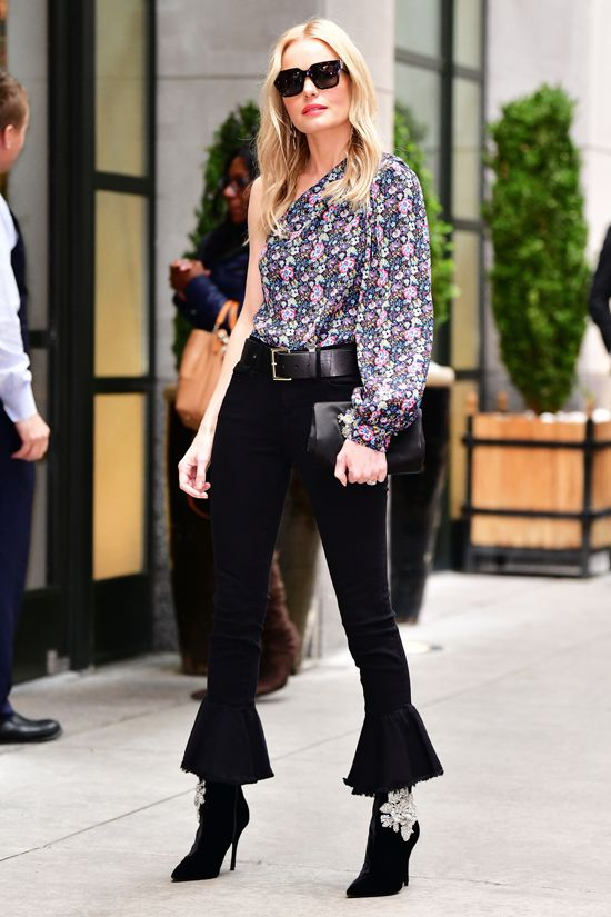 4a2967b38be275 Kate Bosworth in Mother Denim—She wore a floral, one-shouldered top with  these cool flared Mother Denim jeans and embellished Roger Vivier boots.