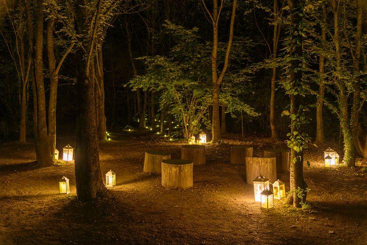 Il bosco del convento di notte, le candele illuminano salotti naturali dove rilassarsi ad ascoltare la natura.