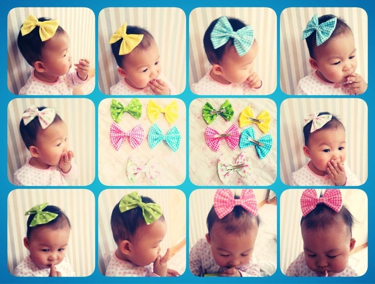 i made a hair bow from my fabric scratch...going to make more for our friend's babies(girl)...^^