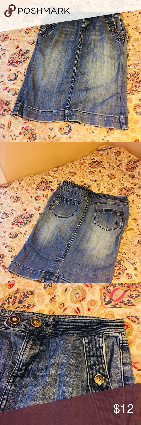 Spoon Jeans Distressed Jean Skirt Size 5 Spoon Jeans Distressed Jean Skirt Size 5 Stretchy Jean Waist approx. 16inches  Length a little over 22 inches Spoon Jeans Skirts Midi