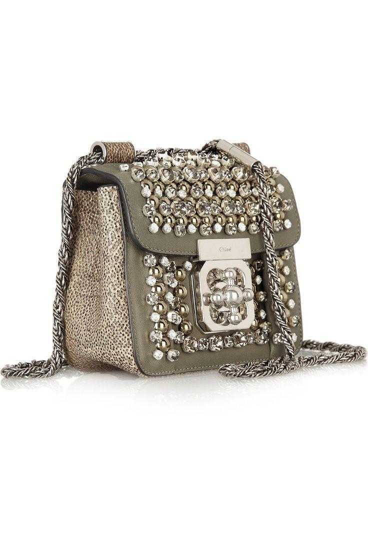 Chlo¨¦ | Elsie mini embellished watersnake shoulder bag | NET-A ...