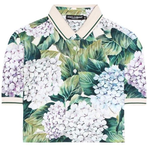 Dolce & Gabbana Floral-Printed Cropped Polo Top found on Polyvore featuring tops, multicoloured, floral crop top, green crop top, flower print tops, colorful tops and colorful crop tops