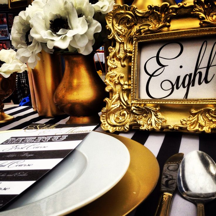 Old Hollywood Glamour black and white table number in gold ornate frame by Just Be. www.justbestudio.com