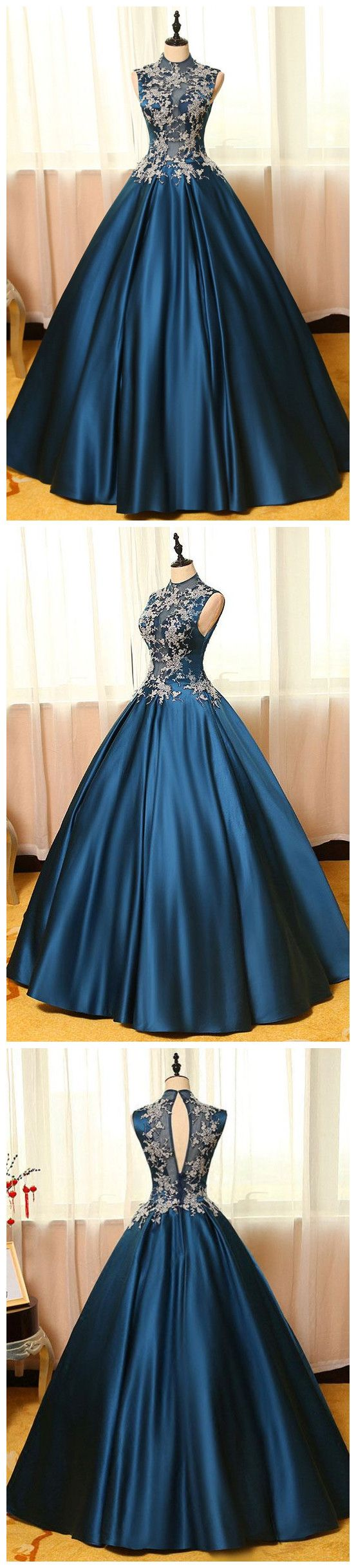2017 High Neck Sleeveless Appliques Long Prom Dresses, Floor Length Blue Prom Dresses ASD26824 #highneck #alinedress #blue #appliques #princess #party #partytime #fashion