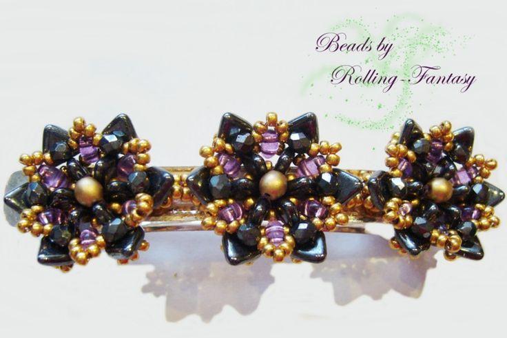 """Haarspange """"Golden Glory"""" in Hematite und Gold  von Beads by Rolling-Fantasy auf DaWanda.com"""