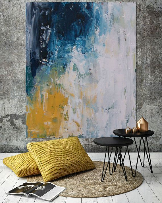 Original Large Abstract Painting, Acrylic Painting on Canvas. Extra Large Painting – Wall Art, Modern Texture Yellow, Blue, White, Grey