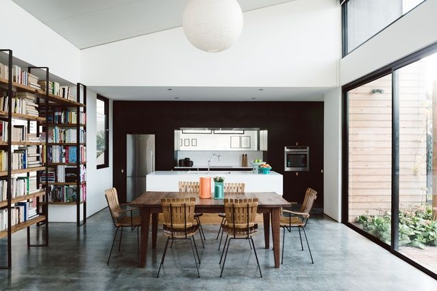Northrop's house in Melbourne / photo by Tom Blachford - this is pretty similar to the look - dark back wall, white central bench with timber back and burnished concrete floor