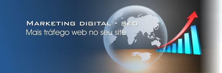 Marketing digital - SEO - Search engine optimization  De que serve um website que ninguém encontra na Internet, torna-se um site inútil, sem visitas, sem tráfego e consequentemente sem gerar negócios. Um website tem de ser planeado e criado por forma, a que qualquer pessoa que procure na internet por serviços ou produtos relacionados com a sua área de negócio, seja dos primeiros à aparecer.