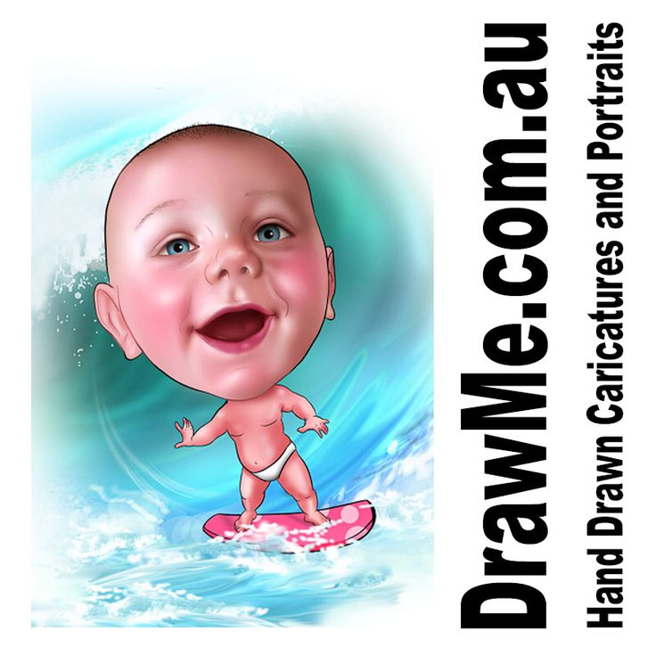 Cool #surf baby from www.DrawMe.com.au all hand drawn from your photos. Great for #birthday #wedding #retirement #anniversary