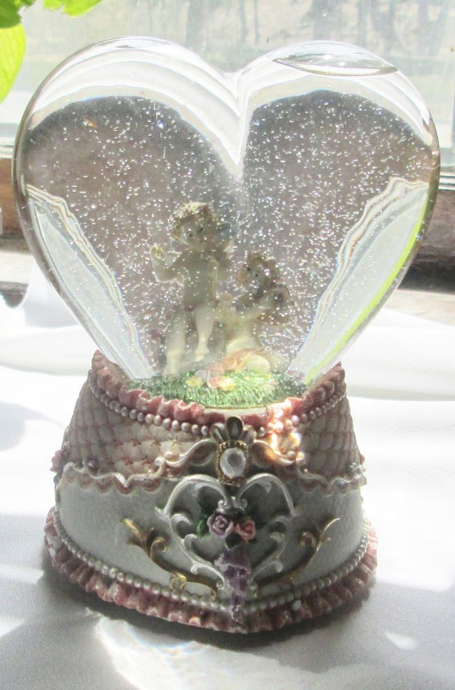 Water Globe Musical Cherubs Angels Heart Shaped The Way We Were Tune Snow Globe Bhtresures