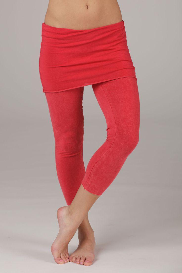 Organic Fold Over Yoga Capri Pants- Solid