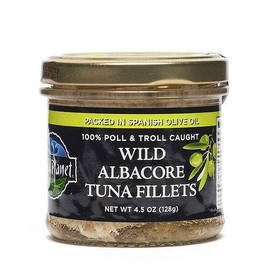 Non-GMO Wild Albacore Tuna Fillets In Olive Oil www.theteelieblog.com Wild Planet Wild Albacore Tuna Fillets in Olive Oil are thickly cut and packed into glass jars with premium Spanish olive oil. Silky smooth in texture and exceptionally flavorful, this tuna is perfect as a component of an Antipasto Platter, atop a Salade Nicoise, or as an easy appetizer: serve with peppadew peppers or simply top the fillets with capers, chopped fresh herbs and a squeeze of lemon. #thrivemarket