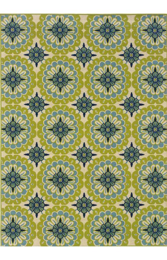 Oriental WeaversCaspianOutdoor 8328 Rug Blue Dining RoomsDining Room RugsGreen