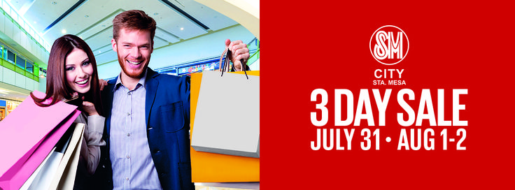 It's SM City Sta. Mesa's 3-Day Sale on July 31, August 1 to 2 with up to 70% off on great finds!!! Shop & get a chance to win a BRAND NEW SUZUKI SWIFT 1.2! MALL HOURS July 31 - 9am to 12mn August 1 - 10am to 12mn August 2 - 10am to 10pm Per DTI-FTEB SPD Permit No. 7748, Series of 2015 ‪#‎SMStaMesa3DaySale‬ ‪#‎SM3DaySale‬ ‪#‎EverythingsHere‬ ‪#‎iLoveSM‬ ‪#‎iLoveSMStaMesa‬ ‪#‎Sale‬ ‪#‎3DaySale‬ ‪#‎Shopping‬ ‪#‎Dining‬ ‪#‎Promos‬ ‪#‎Discounts‬ SM Supermalls