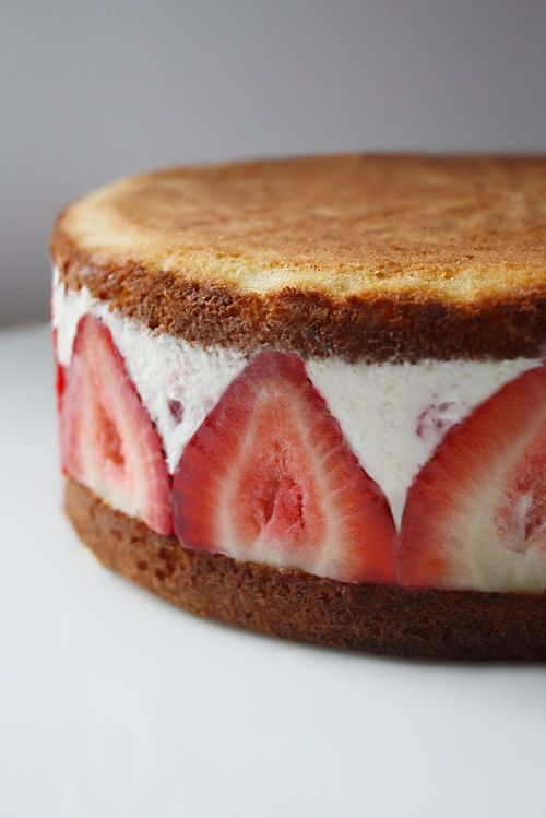 Ice cream-cake, strawberry sandwich