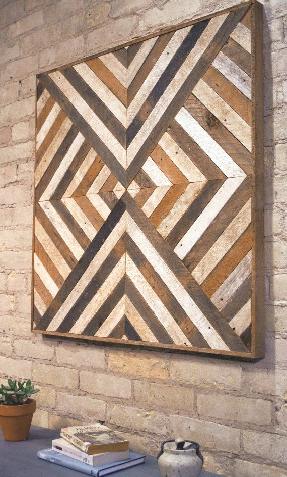 Reclaimed Wood Wall Art Decor Lath Triangle by EleventyOneStudio