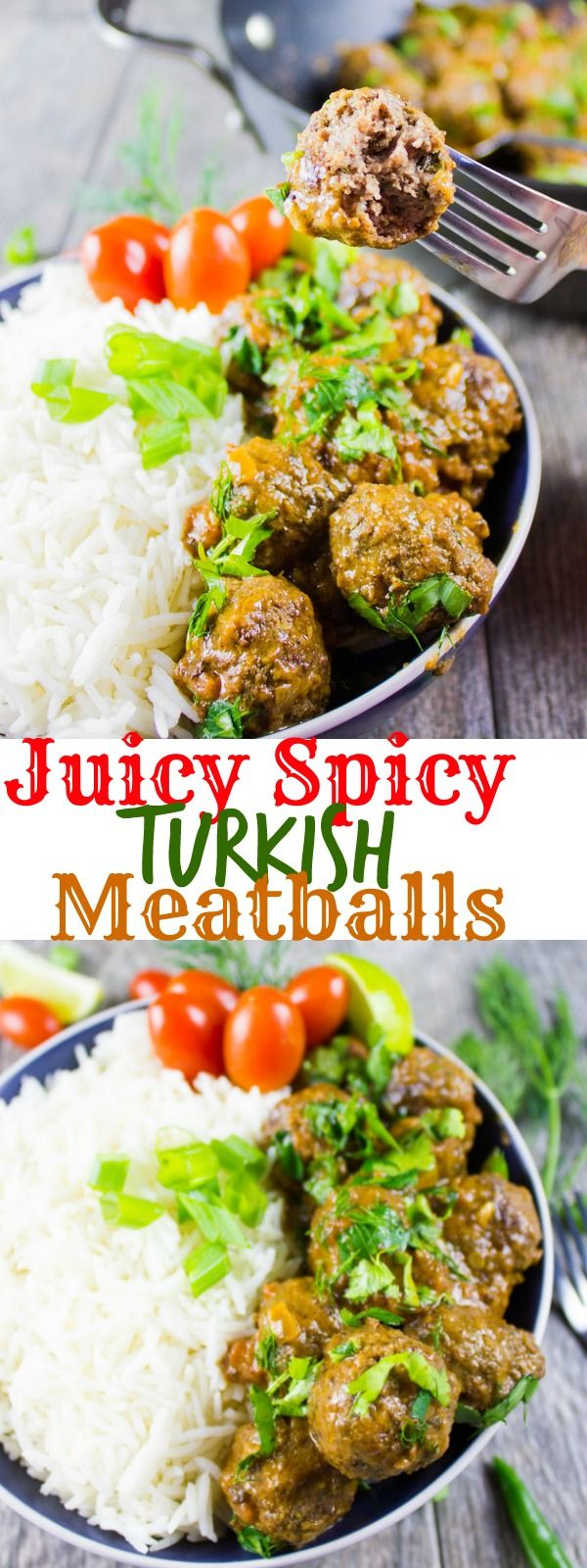 Juicy Spicy Turkish Meatballs. These are not your average meatballs, they're upscale and flavor packed meatballs bathed in a spicy yogurt tomato sauce! recipe handed down from my Turkish grandma, so you can't miss it! www.twopurplefigs.com