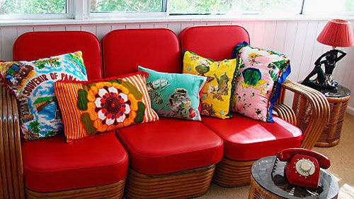 Colourful cushions  Recycle retro or souvenir scarves and tea towels into multicoloured cushions loaded with decorating panache