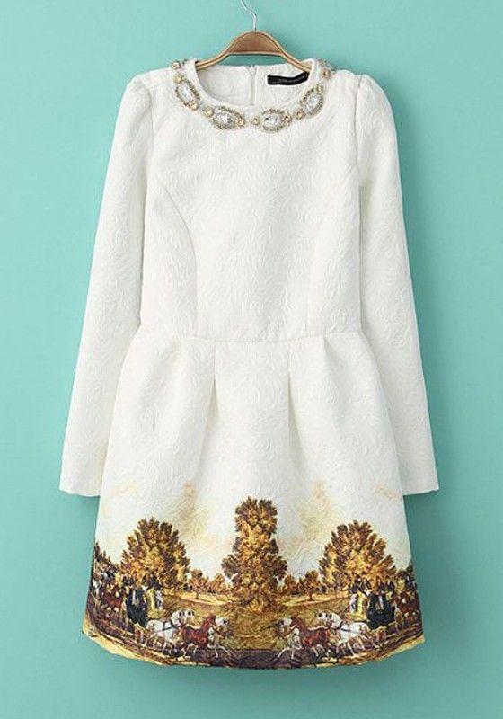 White Print Embroidery Above Knee Mini Dress