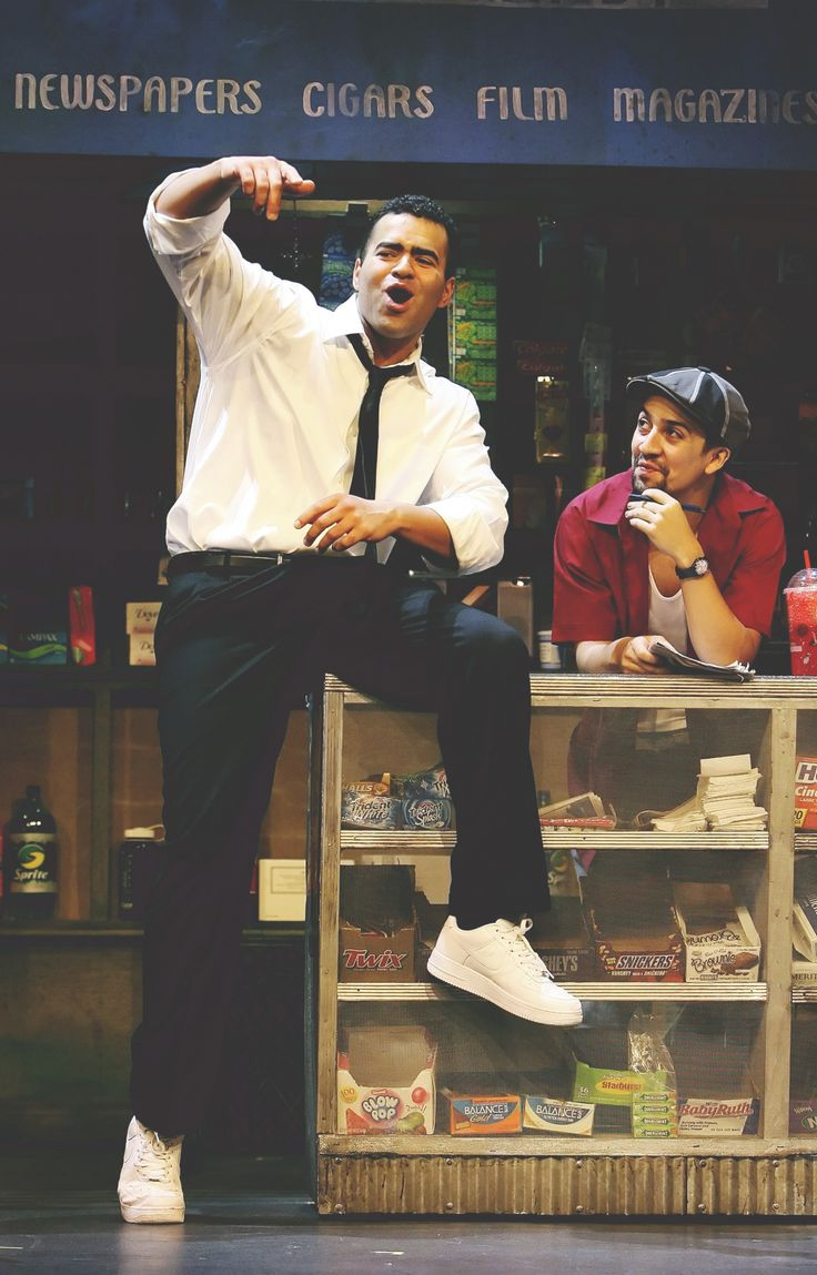 I love this shot so much. It describes so much of the musical in one picture. On one side, we have Benny, talking about his dreams, he's super ambitious, he can see his future; then on the other side is Usnavi. He can do nothing but laugh at his friend's dreams, and feel slightly jealous that he can't achieve his own.