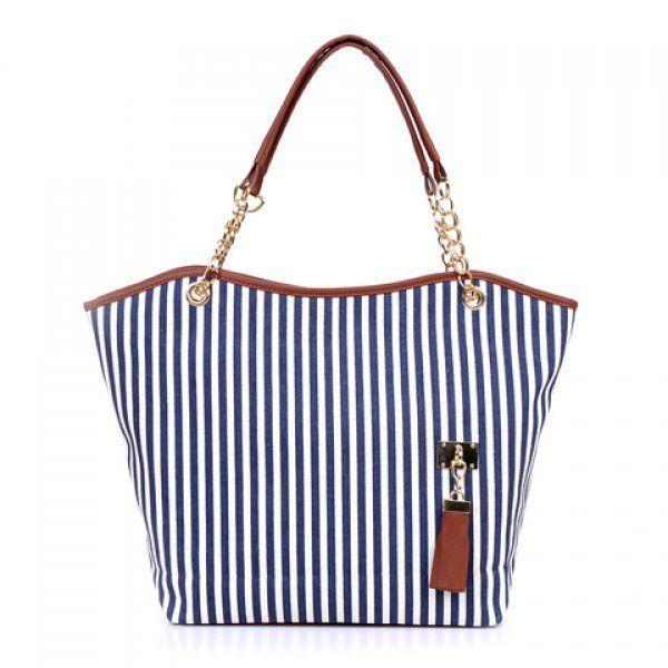 Women's Striped Canvas Tote Shoulder Bag Chain Handbag