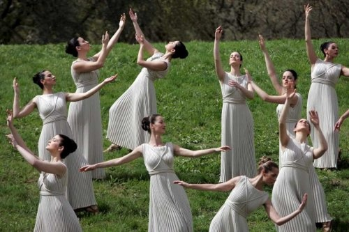 Olympic Flame Ceremony, Ancient Olympia Peloponnese Greece
