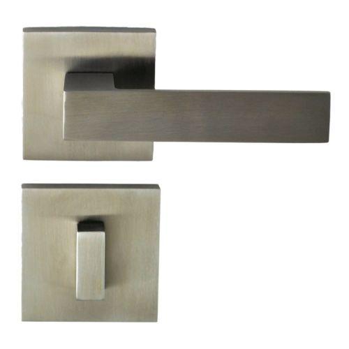 $139 Nidus-Door-Handle-32213PA-Berlin-Square-Privacy-Lever-Set-Stainless-Steel