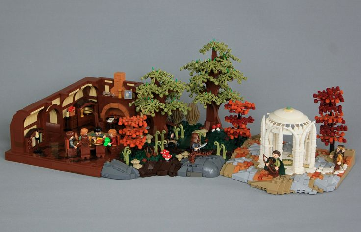 My entry (jsnyder002) for round 1 of The Middle Earth LEGO Olympics over on MOCpages. The category was to create a build based on one of J.R.R Tolkien's poems or songs. Here is the one I chose:  Farewell we call to hearth and hall! Though wind may blow and rain may fall, We must away ere break of day Far over wood and mountain tall.  To Rivendell, where Elves yet dwell In glades beneath the misty fell, Through moor and waste we ride in haste, And whither then we cannot tell.  With foes…