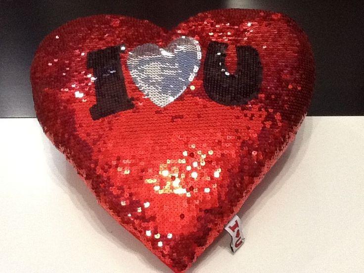 Cuscino Cuore rosso I love you con paillettes idea regalo Amore