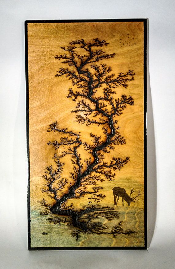 Electricaly Engraved Wooden Lichtenberg Figure By