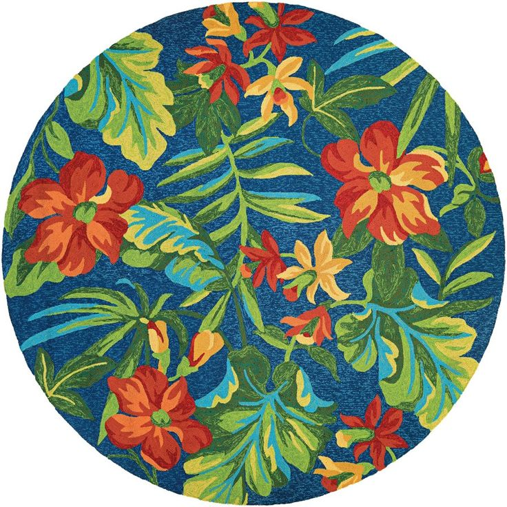 Amberjack Tropical Orchid Azure/Forest Hand-Woven Green/Blue Indoor/Outdoor Area Rug