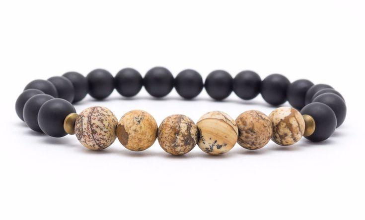 Mens Armbands – Bracelet mala stone onyx jasper – a unique product by Blackif on DaWanda