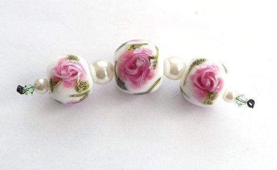 Pink english rosary bead trio / SRA by Beadsagogo on Etsy, $22.50