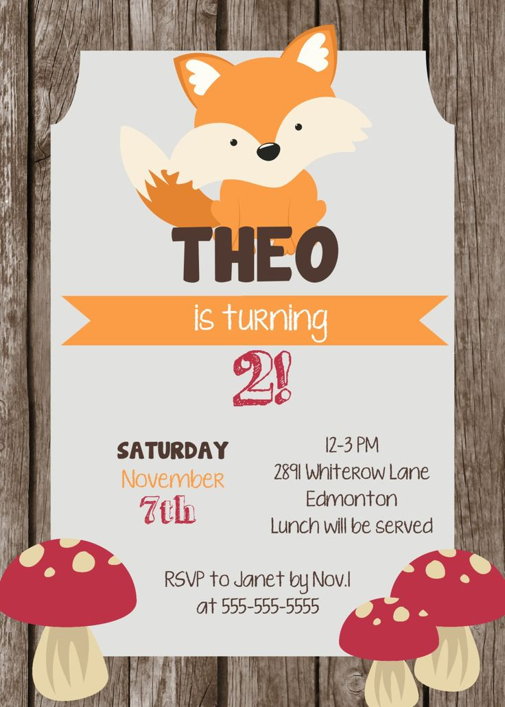 This printable Woodland birthday invitation / fox birthday invitation is perfect for a #woodland birthday party theme! Found this lovely invite on #Etsy.