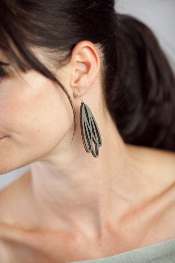 Gray Earrings Laser Cut Wood