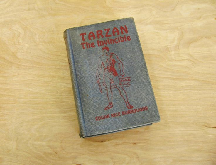 Antique Book Tarzan The Invincible by Edgar Rice Burroughs 1931 Tarzan Book Lord of the Jungle Blue Book Classic Fiction Classic Literature by HipCatRetroVintage on Etsy