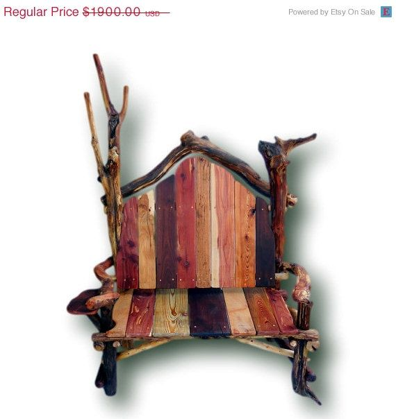 Cyber Monday Reclaimed Wood Bench Royal Throne Cabin By WoodzyShop