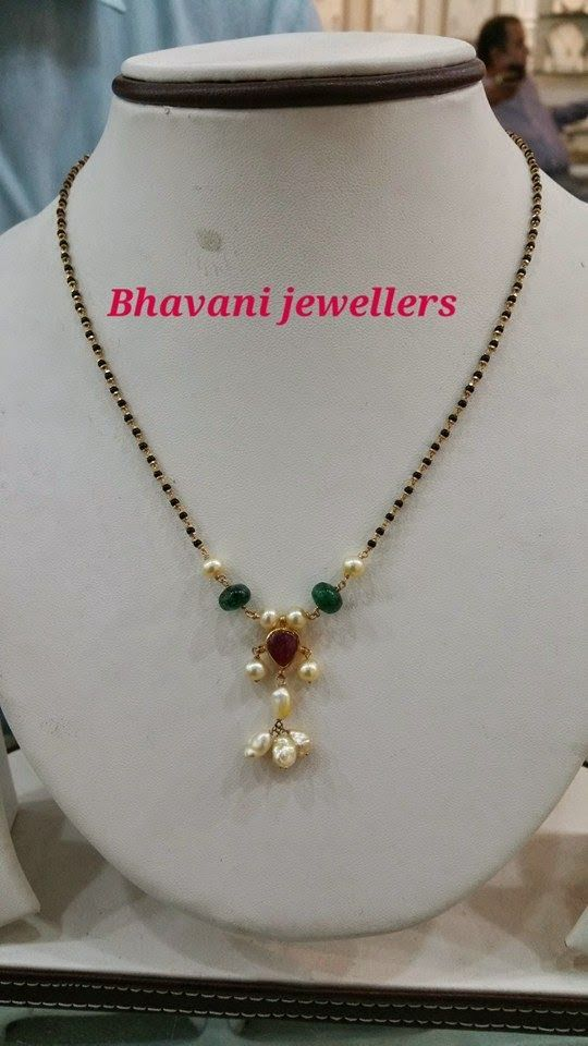 Indian Jewellery and Clothing: Cute, Simple and light weight designs of Black beads necklace from Bhavani Jewellers, Hyderabad