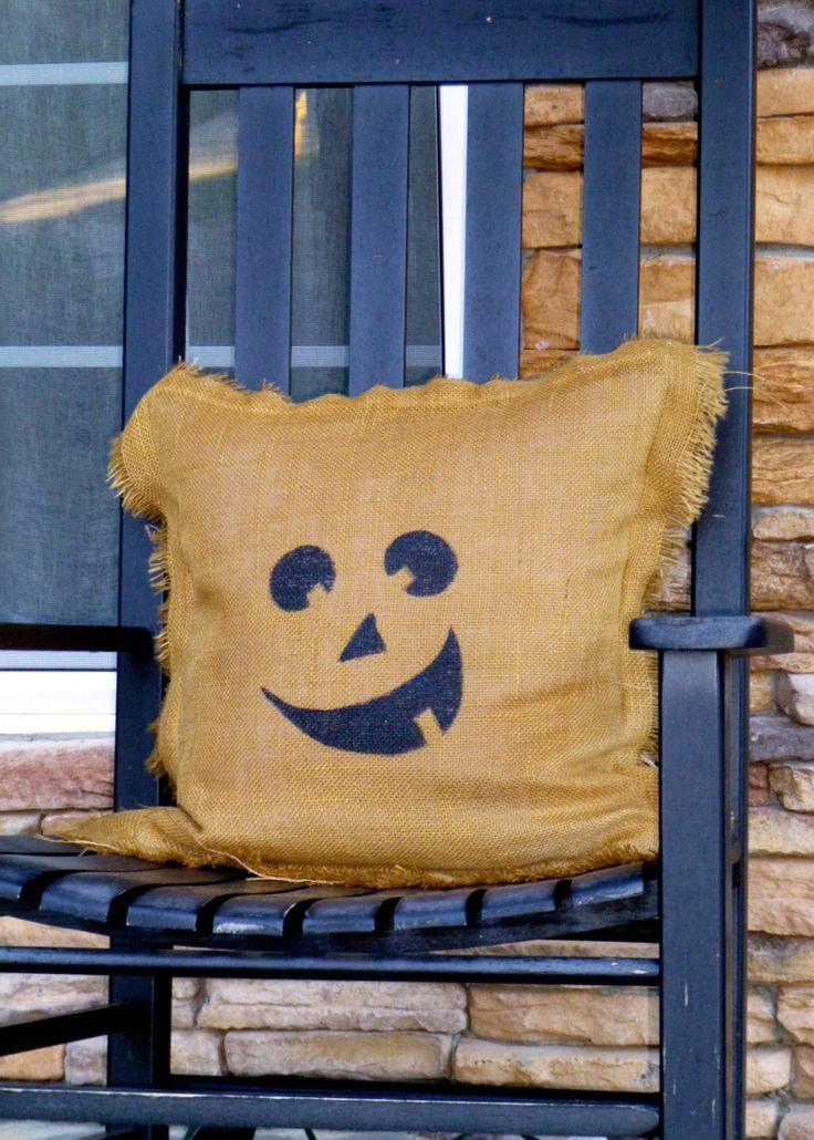 Burlap Pumpkin Pillow Could Do A Scarecrow Face Diy