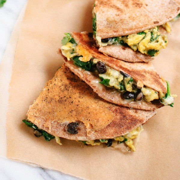 Recipe: Breakfast Quesadillas with Scrambled Eggs, Spinach and Black Beans