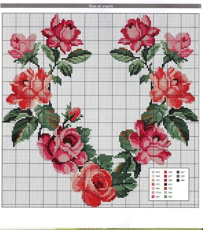 heart, floral heart, roses, roses heart, cross stitch