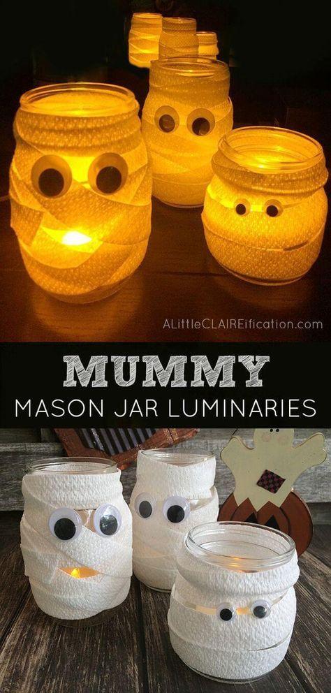 30 kreative DIY Einmachglas Halloween Crafts, um Ihren Herbst Dekor zu würzen