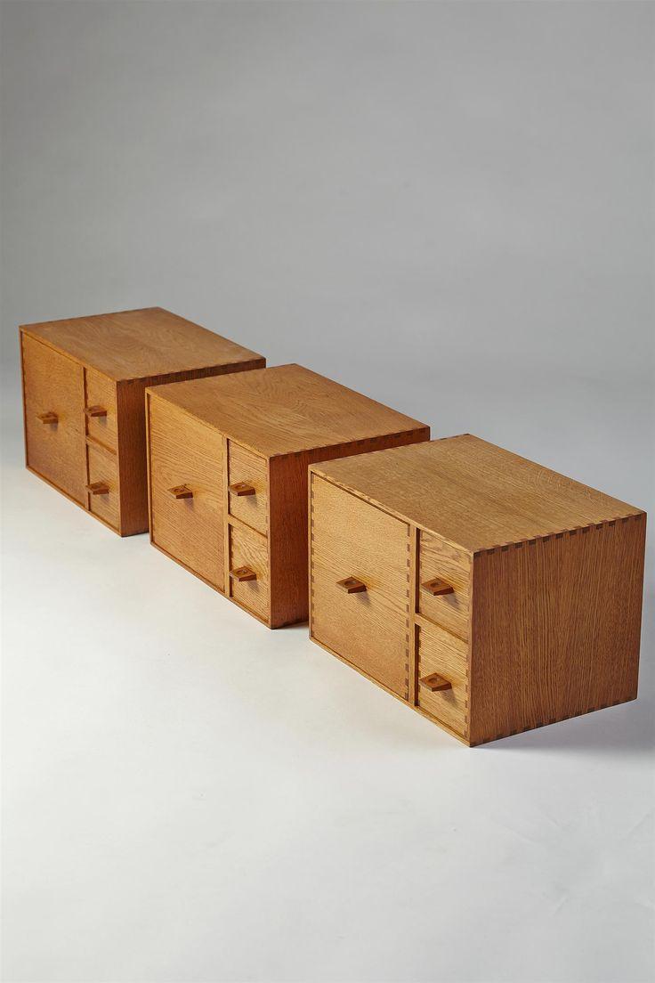 Yngve Ekström; Oak Modular Storage Boxes with Drawers, 1950s.