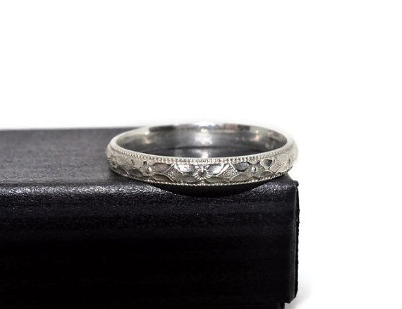 Unisex Silver Engagement Ring, Victorian Style Floral Ring, Men's Wedding Band, Gender Neutral Ring, Handforged Engagement Band