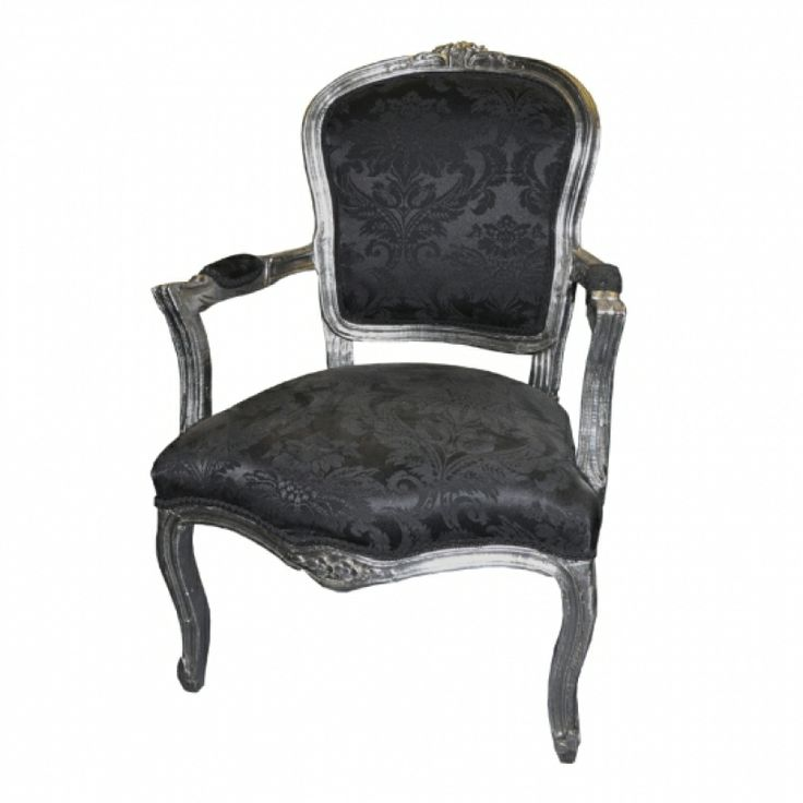 Vintage chairs antique silver with black fabric louis xv