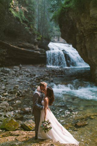 Alberta Falls Bridal Shoot from Rocky Mountain Weddings featuring an Essense of Australia wedding dress