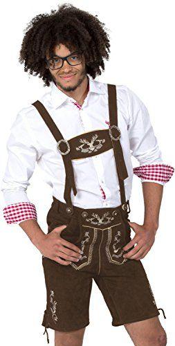 #Wiesn #Oktoberfest #Almwerk #Herren #Trachten #Lederhose #kurz #Modell #Hipster, #Farbe:Braun